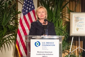 Leadership · Former Secretary of State Hillary Clinton accepts an award from the Mexican American Leadership Initiative on Saturday. - Yasmeen Serhan | Daily Trojan