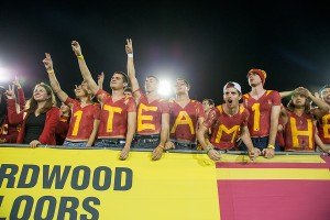 Welcome back · The atmosphere in the student section during USC's dramatic 20-17 victory over Stanford helped signify USC's success in the national spotlight and made Saturday's 3 a.m. wake-up call a wise decision. — Ralf Cheung | Daily Trojan