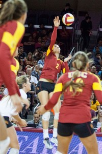 Top-notch · Sophomore outside hitter Samantha Bricio set USC's single-season record for service aces (61) against California on Friday. - Ralf Cheung | Daily Trojan
