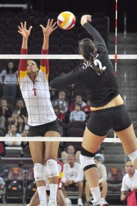 Upward trend · USC freshman outside hitter Ebony Nwanebu (7) has been named Pac-12 Freshman of the Week six times this year. - Ralf Cheung | Daily Trojan