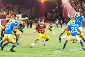 "Nowhere to run · USC redshirt sophomore running back Javorius ""Buck"" Allen rushed for 123 yards on 20 carries and scored a touchdown, but his fourth quarter fumble sealed the victory for the Bruins. - William Ehart 