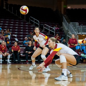 Looking up · Senior middle blocker Alexis Olgard (right) hopes to lead her team to an NCAA championship in her final season at USC. - William Ehart | Daily Trojan