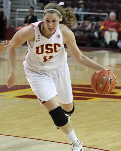 Drive for success · Senior forward Cassie Harberts and the Women of Troy sit in second place in the Pac-12 as they head into the second half . - Austin Vogel | Daily Trojan