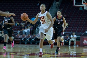 Road warrior · Junior forward Alexyz Viaoletama heads into this weekend's road trip averaging 9.5 points per game and 7.6 rebounds per game. She is second on the team in minutes played, with 28.8 per game. - Ralf Cheung | Daily Trojan
