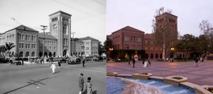 Back to the Future · The modern USC Campus (right) began to take shape after the building of Bovard Auditorium in 1921. The side by side comparison contrasts Hahn Plaza today with its 1921 counterpart, as shown on the left, courtesy of the Los Angeles Public Library.  - Austin Vogel | Daily Trojan