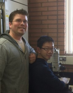 Dynamic Duo · Assistant Professor Sean Curran (left) and Shanshan Pang (right) utilized a milimeter-long worm to study the new gene. - Akshat Khanna | Daily Trojan
