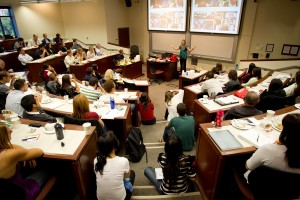 "Class-y Dining · Students from all over the university attend a ""Lunch and Learn"" event affiliated with the Society and Business Lab. With the donation, the Lab will be renamed The Brittingham Social Enterprise Lab, allowing the center to continue its goal of expanding social entrepreneurship programs campus and eventually launching a similar program for grades K-12.  - Photo courtesy of USC Marshall School of Business"
