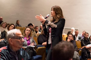 Campaign trail · Congressional Candidate Marianne Williamson speaks and answers questions to potential voters while campaigning. - Photo courtesy of Ileana Wachtel
