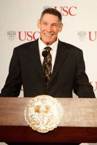 Donor · Dr. Gary Michelson speaks to an audience of students and professionals at Town and Gown to announce his $50 million donation. - Photo courtesy of USC