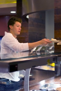 Mushroom Kingdom · Chase Bloch, a senior majoring in mechanical engineering, tests out the new mushroom options available through 'Mushroompalooza' at Café 84 on Monday. The event will last all week. - Carrie Sun | Daily Trojan