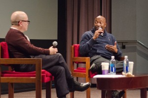 Man n the school · Director and screenwriter John Singleton (right) paid a visit to USC public relations professor Fritz Friedman to discuss his career and offer advice to students about marketing products. - Kirstin Louie | Daily Trojan