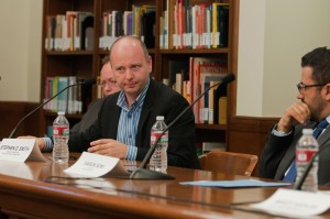 History · Panelist Stephen Smith discusses the value of learning from the stories of Holocaust survivors in the Doheny Memorial Library during last year's discussion on the continued relevance of the Holocaust.  - Ralf Cheung | Daily Trojan