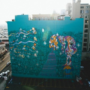 """Foster the People commissioned a mural of the cover of their upcoming album, """"Supermodel,"""" in Downtown Los Angeles. – Photo courtesy of Fresh Independence."""