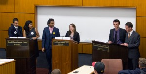 Great debaters · (From left to right) Andrew Menard, Rini Sampath, James White, Brigid Kelly, Logan Heley and A.J. Pinto discuss issues such as campus safety, diversity  and food options at the Ronald Tutor Campus Center. - Kevin Fohrer | Daily Trojan