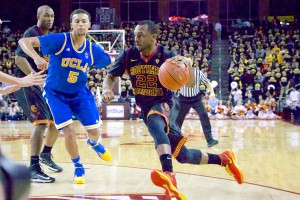 Worthy effort · Junior guard Byron Wesley led all scorers on Saturday night with 27 points, but could not push his team past UCLA. Wesley excited the home crowd by making four consecutive three-pointers in the  first half. - JoJo Korsh | Daily Trojan