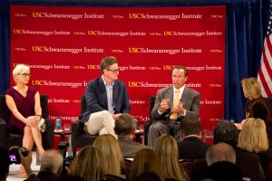 "Terminate gridlock · Former Gov. Arnold Schwarzenegger told students on Monday that the political system had ""let [them] down.""  - Kevin Fohrer 