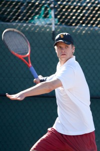 Undefeated · Junior Yannick Hanfmann has opened up the season without dropping a set for the Trojans in either singles or doubles. - Ralf Cheung | Daily Trojan