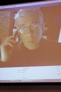 Skype'n in · American Enterprise Institute director of Russian studies Leon Aron spoke on his worries about the Sochi Olympics via Skype. - Macaul Hodge | Daily Trojan