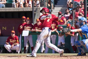 Catch a break · Freshman catcher/designated hitter Jeremy Martinez drove in the game-winning run against Stanford this weekend in a 10-inning effort. The newcomer is batting .284 for the Trojans this season. - Joseph Chen | Daily Trojan
