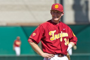 All smiles · Despite the Trojans' four-game skid, senior 3B Kevin Swick, who is batting .410 on the season and was named the Pac-12 Player of the Week on March 4 for the first time in his career, has plenty to be happy about.  - Joseph Chen | Daily Trojan