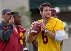 Gunslinger · Redshirt junior quarterback Cody Kessler felt good about USC's new fast-paced offense, saying that the team ran 125 plays in 45 minutes. Kessler will battle redshirt freshman Max Browne for the starting position. - Ralf Cheung | Daily Trojan