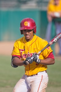 Steady hand · Junior infielder Dante Flores went 3-for-5 against Arizona State on Sunday, and will look to improve his .243 batting average today. - Ralf Cheung | Daily Trojan