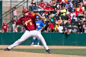 Home sweet home · Sophomore RHP Kyle Davis emphasized the Trojans' desire to win in front of their home crowd this season. Davis leads the Trojan pitching staff with a 0.47 ERA in 11 appearances this season. - Joseph Chen | Daily Trojan