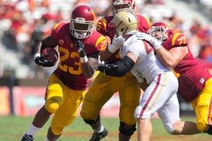 Carrying the load · Redshirt junior running back Tre Madden has been a workhorse in USC's last few spring practices due to an injury to his classmate Buck Allen. Madden ran for 703 yards in only six starts last season. - Ralf Cheung | Daily Trojan