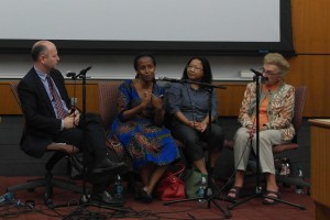 Survivors · (Left to right): USC Shoah Foundation Executive Director Stephen Smith, Rwandan Genocide survivor Edith Umugiraneza, Cambodian Genocide survivor Sara Pol-Lim and Holocaust survivor Celina Biniaz spoke during Tuesday evening's event. - Christine Yoo | Daily Trojan