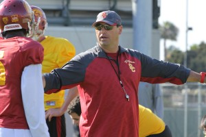 Sark times · Head coach Steve Sarkisian will have to choose between redshirt freshman Max Browne and returning starter Cody Kessler at the quarterback position. Both players have been inconsistent this spring. - Nick Entin | Daily Trojan