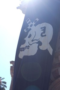 Punk'd · Members of the Skull and Dagger honor society unfolded their banner from the top of the Student Union after successfully executing their annual prank on Thursday afternoon in Hahn Plaza. - Joseph Chen | Daily Trojan