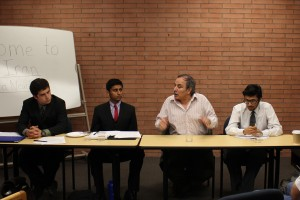 Tension · Panelist Muhammad Sahimi (second to right), discussed the tenuous relationship between the United States and Iran. - Kevin Fohrer | Daily Trojan