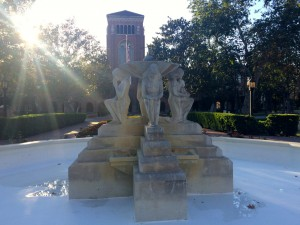 "Youth run rampant · The annual undergraduate senior fountain run resulted in serious damage to ""Youth Triumphant,"" a fountain donated to the university in 1935. — Razan Al Marzouqi 