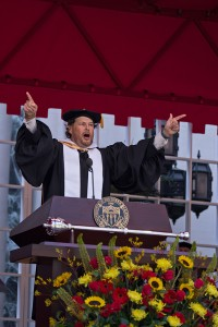 Keynote speaker Marc Benioff encourages the graduating class of 2014 to give back to others and 'Fight On' at the 131st Annual USC Commencement Ceremony. — Joseph Chen | Daily Trojan