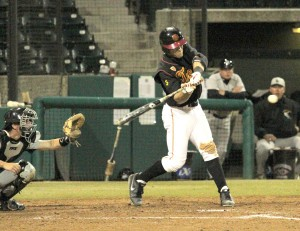 Swinging for the fences · Freshman infielder Frankie Rios went 2-for-4 with two RBI's in the Trojans' first game against Oregon State. Though USC won the series, they missed the postseason tournament. - Austin Vogel | Daily Trojan