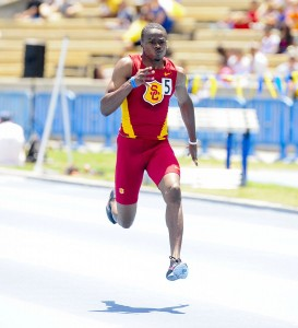 Racing toward the finish · The No. 13 ranked USC track and field team will send senior Aaron Brown to compete in the 100-meter dash. - Photo courtesy of USC Sports Information