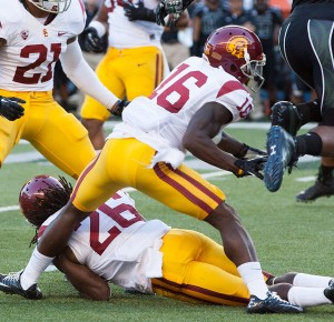 Gone, baby, gone · Senior running back Anthony Brown racked up 43 tackles during the three years he played cornerback for USC. - Ralf Cheung | Daily Trojan