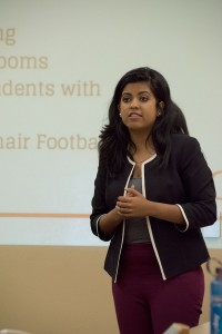 Our place · Undergraduate Student Government Vice President Rini Sampath speaks at the USG meeting Tuesday in Ronald Tutor Campus Center. USG's resolution would create programming and space for black students. - Ralf Cheung | Daily Trojan
