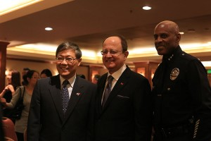 Pacific Rim · Chinese Consulate General Liu Jian (left), USC President C. L. Max Nikias (center) and LAPD Assistant Chief of Police Earl Paysinger (right). (Kenneth Rodriguez-Clisham/Daily Trojan)