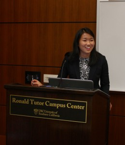Opening a dialogue · Jenny Di, president and founder of the Roosevelt Institute at USC, moderated the panel discussion with student and administrative leaders on campus. - Jessica Zhou | Daily Trojan