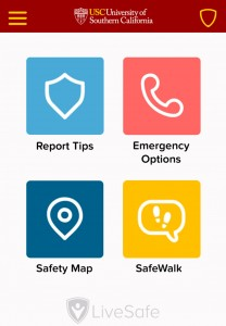 Safety on the go · University officials hope the app's four main features will encourage students to take precautions on and off campus. - Graphic courtesy of Jill Frater