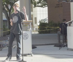 High flying · Harris Christiansen, a freshman at Purdue University, presents the iDrone at HackSC, which was held at USC this weekend.  - Mariya Dondonyan | Daily Trojan