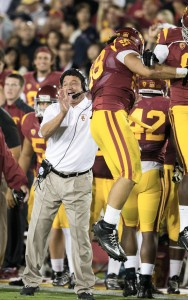 O-face · Ed Orgeron led USC to a 6-2 record, including an upset win over then-No. 5 Stanford, while serving as interim head coach in 2013.  - Ralf Cheung | Daily Trojan