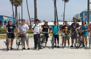 Beach cruisers · Students in the USC Bike Coalition participated in a Venice Beach bike ride with students from UCLA during an event last year.  - Photo courtesy of Alex Leavitt