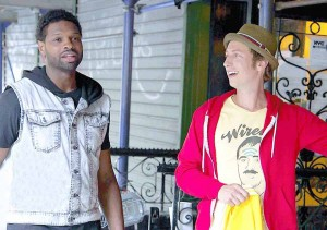 What would you do? · In Broke A$$ Game Show, David Magidoff (right) partners with Derek Gaines to see just what the people of New York will do for some quick cash. Some of the challenges have included impromptu twerk-offs and eating cotton candy off the body of a friend. - Photo courtesy of MTV