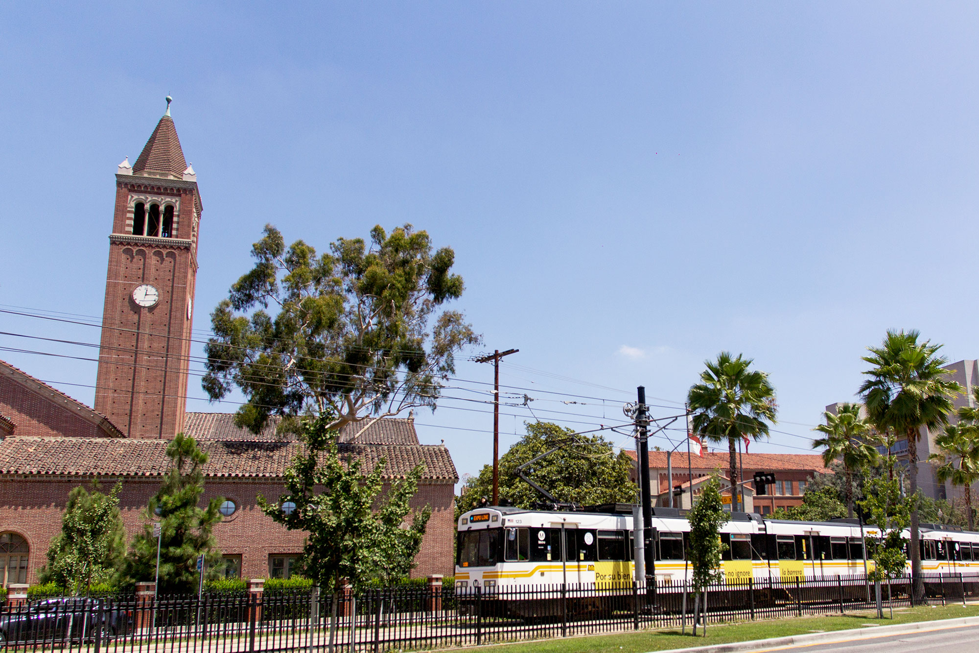 USC station · The Expo Park/USC Metro station, part of the Expo Line, is located directly across the street from Trousdale Parkway, making it easy for students to utilize L.A.'s public transportation.  - Joseph Chen   Daily Trojan