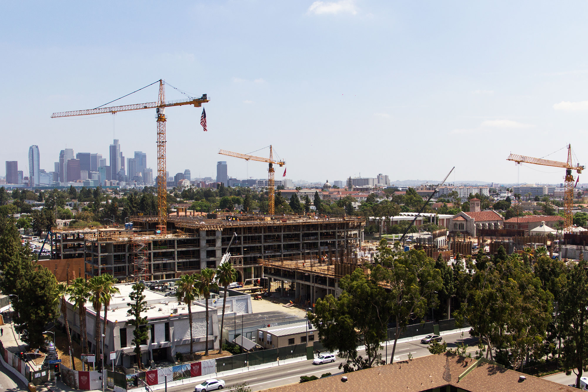 It takes a village · The USC Village, slated to open in fall 2017, has made much progress since the spring semester ended. The new Village is just one of the many building projects USC is currently working on. - Joseph Chen | Daily Trojan
