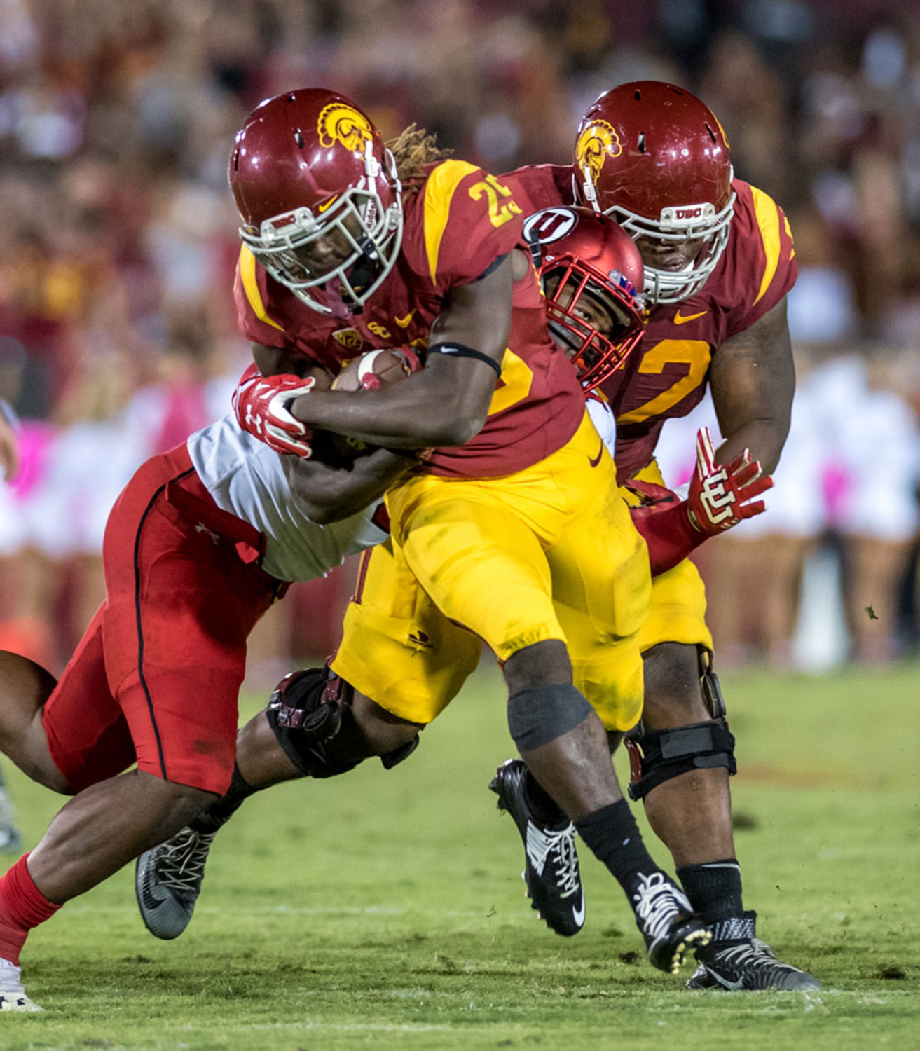 Head down, man down · Freshman running back Ronald Jones II currently leads all Trojan rushers with 466 yards this season. His four touchdowns on the ground share the team lead, along with redshirt senior Tre Madden. - Tal Volk | Daily Trojan