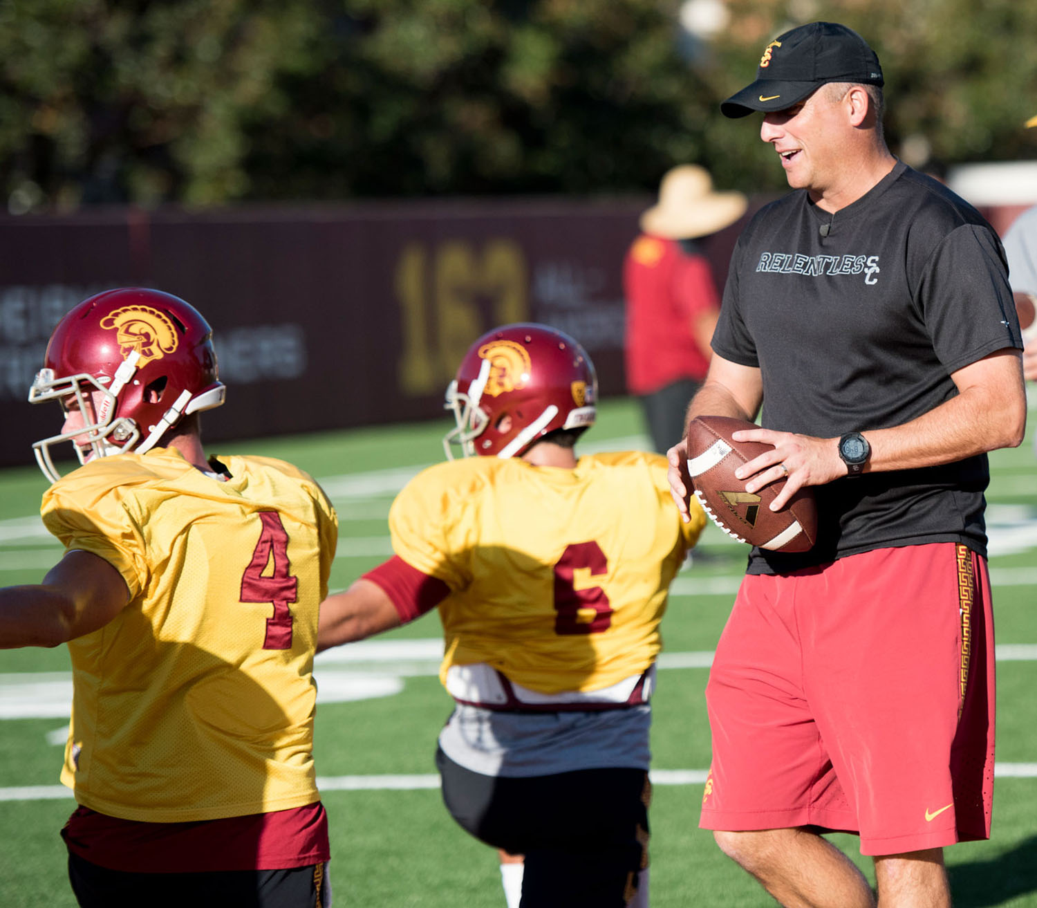 Carrying on tradition · Interim head coach Clay Helton became the eighth consecutive coach to win his debut at the Coliseum after the Trojans 42-24 rout of No. 3-ranked and Pac-12 South leader Utah last Saturday. - Mariya Dondonyan   Daily Trojan
