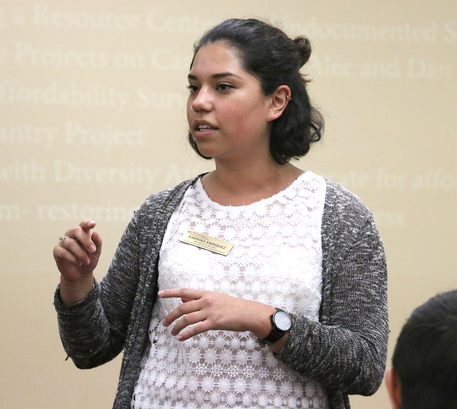 Helping hand · Undergraduate Student Government Sen. Sabrina Enriquez is putting together a resource guide for undocumented students. - Mariya Dondonyan | Daily Trojan